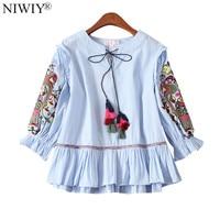 NIWIY Brand Summer Embroidery Blouse Women Tops Blusas Mujer De Moda 2017 Hubble bubble Sleeve Loose Blue Striped Shirt 896875