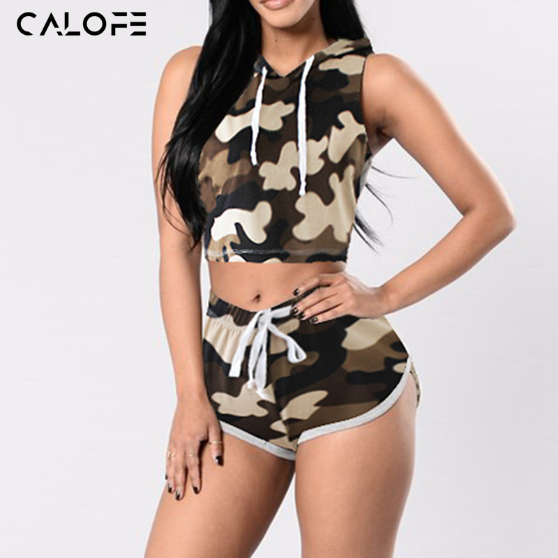 Camouflage Hooded Running Sleeveless Crop Tops (2 Piece Set)