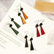 New Fashion Triangle Wood Drop Earrings Plush Ball Winter Geometric Korean Jewelry oorbellen
