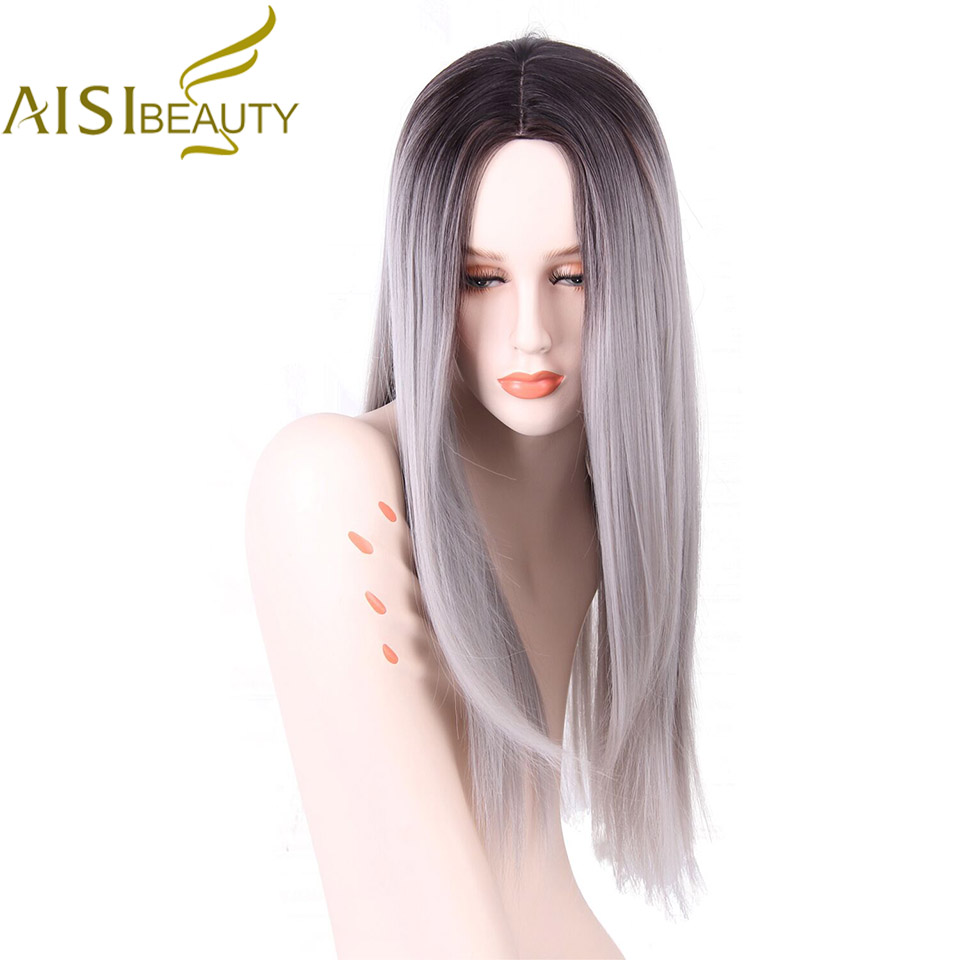 AISI BEAUTY Long Straight Grey Red Pink Ombre Black Synthetic Wigs for Women Cosplay Hair Heat Resistant 26""
