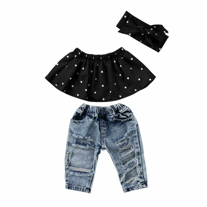 b3f516c7190ce 3Pcs Infant Baby Girl Clothes Set Dot Sleeveless Off Shoulder Ruffle Tank Tops  Hole Denim Jeans