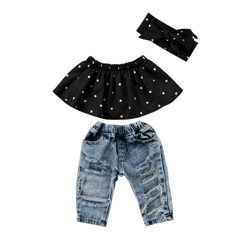 3Pcs Infant Baby Girl Clothes Set Dot Sleeveless Off Shoulder Ruffle Tank Tops Hole Denim Jeans Pants Headband Girls Summer 0-3Y infant tops pants love pattern headband baby girl outfit set clothing 3pcs kid children baby girls clothes long sleeve