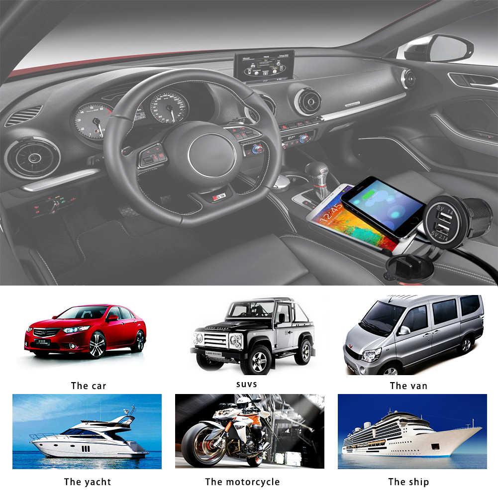 المزدوج سيارة USB محول مقبس شاحن لشركة فولكس فاجن آيفون سامسونج 4.1A شاحن السيارات الصغيرة ولاعة السجائر سيارة شاحن 12 فولت 24 فولت