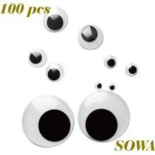 Бесплатная доставка; оптовая продажа 100 шт./лот смешанные Размеры 6 мм/8 мм/10 мм/12 мм/15 мм круглый движущиеся глаза Пластик глаза для Аксессуары для кукол