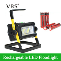 Super Bright Outdoor LED Floodlight Rechargeable 36LEDS Camping Work Lamp IP65 Waterproof with 4x18650 Battery&Charger