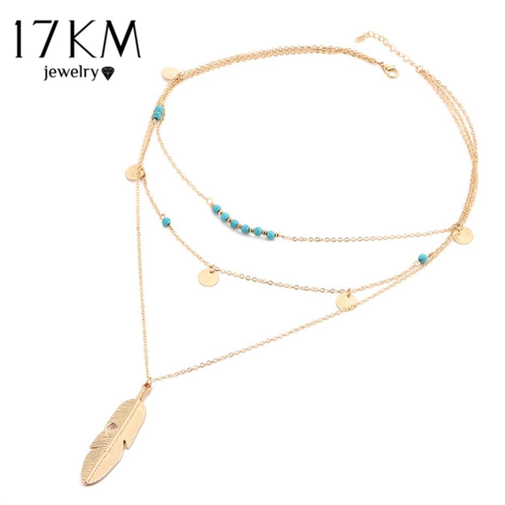 17 км модная разноцветная Слои цепь листьев ожерелья ювелирные изделия для женщин богемный синий камень колье цепи Jewellery gargantilha