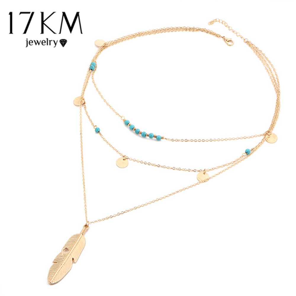 17KM Fashion Multi Layer Leaf Chain Necklaces Jewelry for Women Bohemian Blue Stone Choker Chain <font><b>Jewellery</b></font> Gargantilha