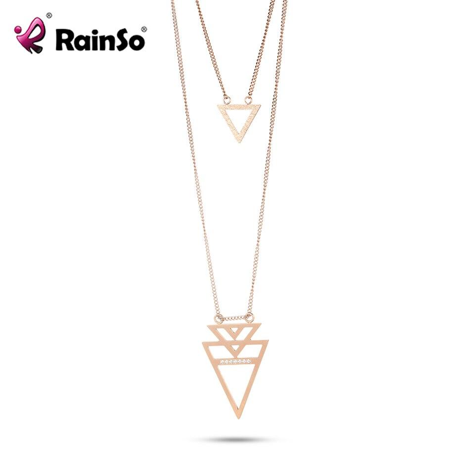 Rainso, новинка, 316L, нержавеющая сталь, ожерелье для женщин, геометрический дизайн, уникальный дизайн, стразы, розовое золото, элегантное ожерел
