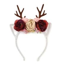 Antlers Floral Crown Headbands Christmas Baby Girls Bulk Horn Diadem Fabric Flower Tiara Hairband Kidocheese