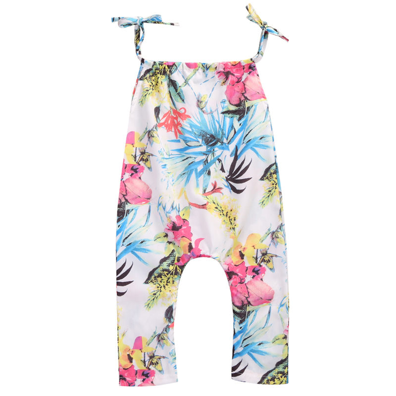 New Casual Summer Baby Girls Clothes Jumpsuit Sleeveless Floral Romper Cotton Clothes Outfits