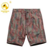 Shorts Men 2017 Brand Field Base Summer Fashion Mens Shorts Casual Cotton Slim Leaves Pattern Beach Shorts Joggers Trousers