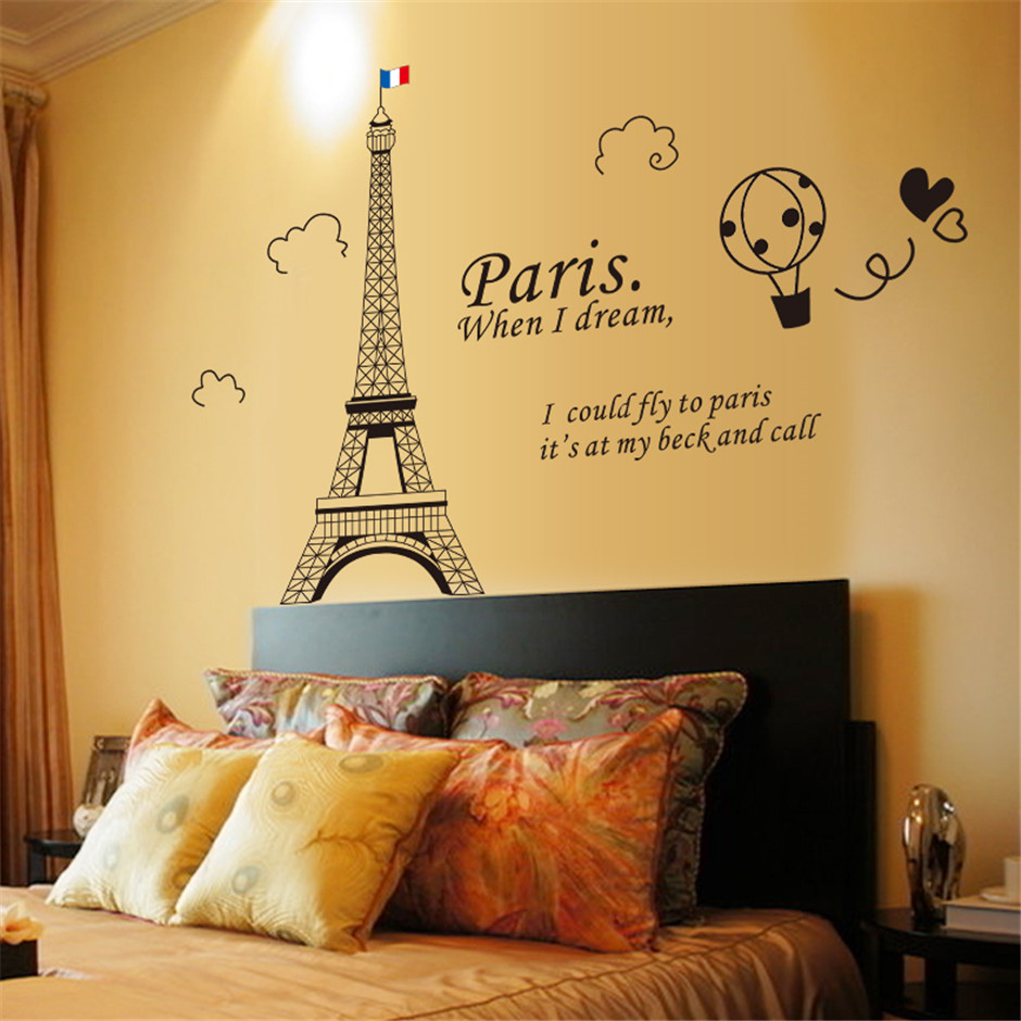 ▽Eco Removable Paris Eiffel Tower Quotes Wall Stickers For Living ...