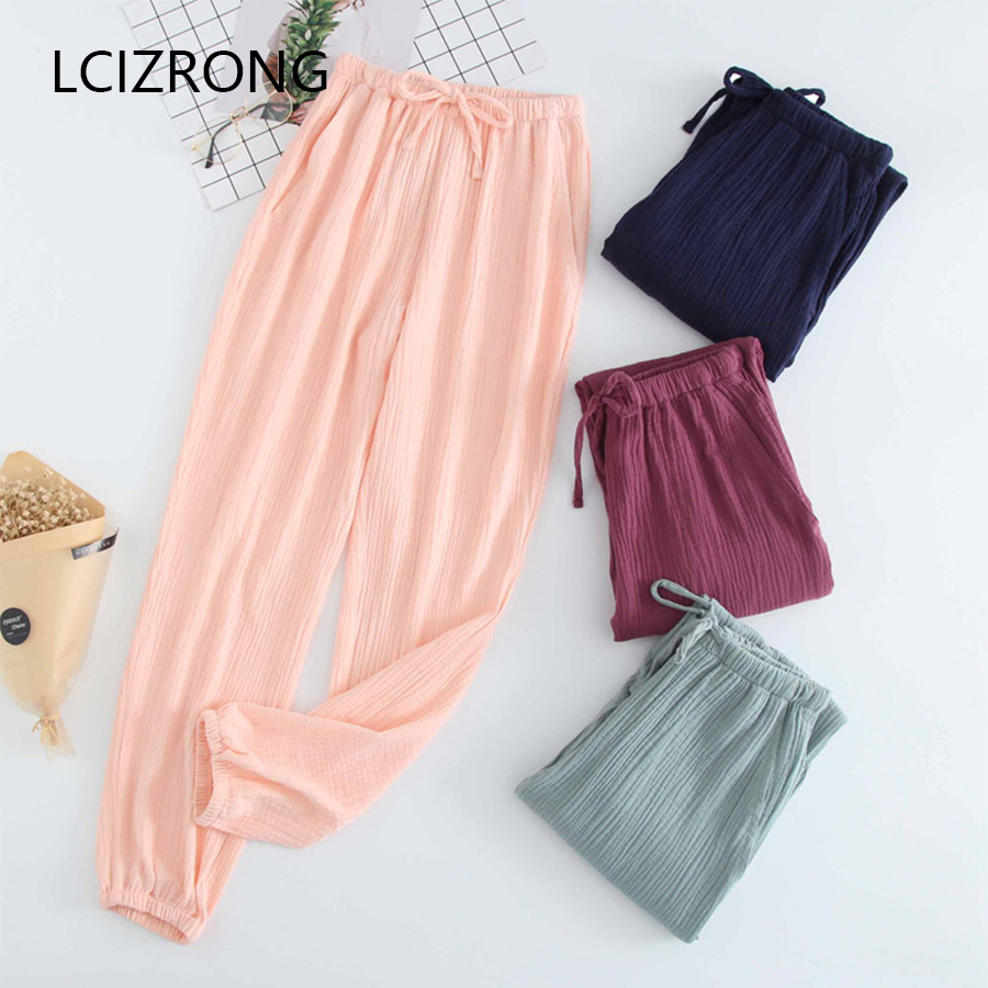 Spring 7 Colors Cotton Crepe Sleep Bottoms Women Summer Comfort Long Pajama Sleep Pants Casual Underwear Home Lounge Female