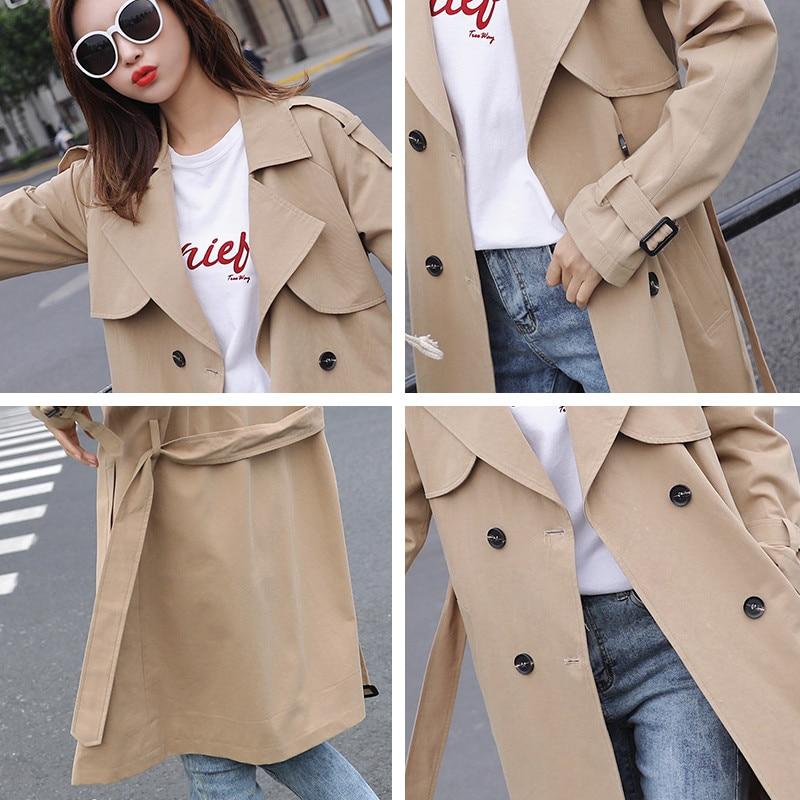 2019 nowa wiosna jesień damska długi prochowce koreański dwurzędowy Wąski pasek wiatrówka elegancki płaszcz kobiet płaszcz N20 w Trencze od Odzież damska na  Grupa 3