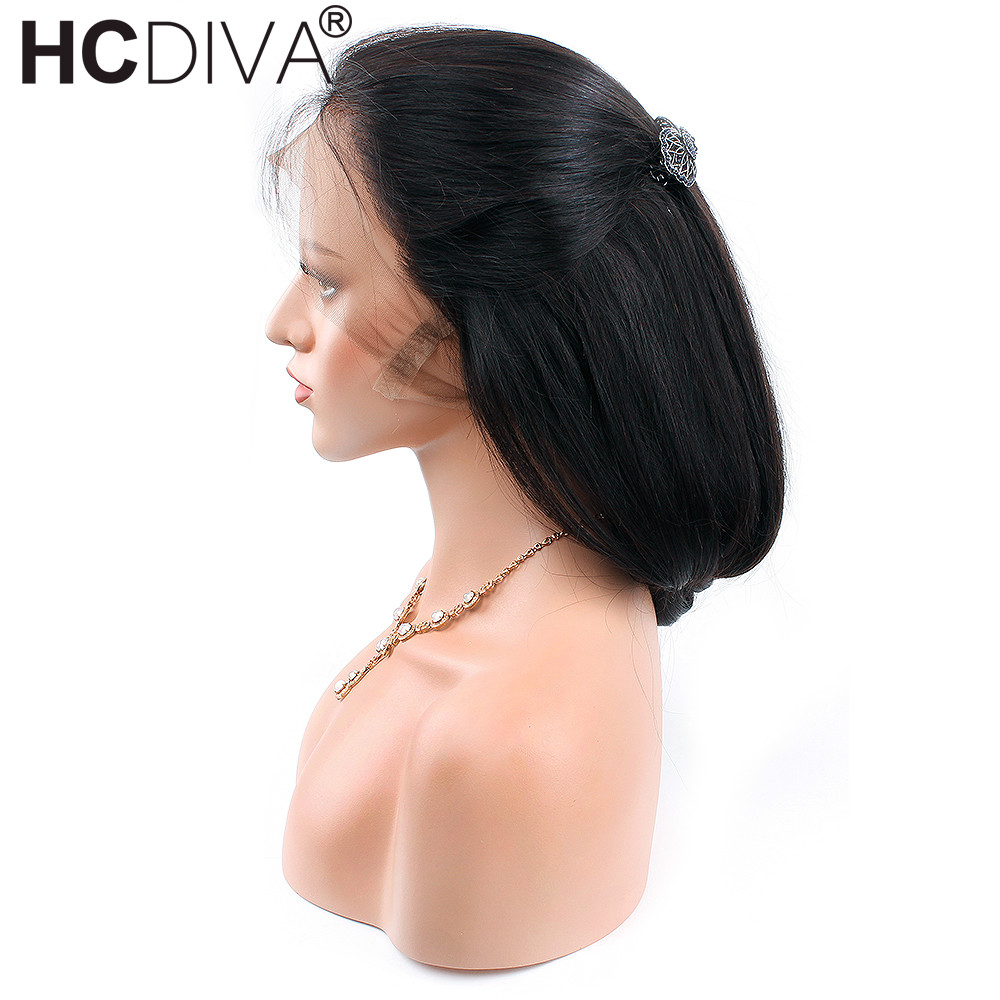 Peruvian Straight Remy Mänskliga Hårperor Med Babyhår 12--24inch - Mänskligt hår (svart)