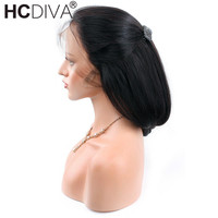 Peruvian Straight Remy Human Hair Wigs With Baby Hair 12 24inch Natural Black Color Density 150