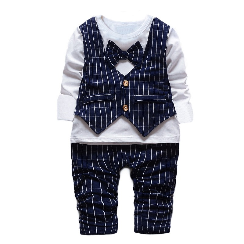 1-2-3-4-years-Little-Baby-Boys\'-Birthday-2-PCS-clothing-Set-Bowtie-plaid--Formal-Wear-Suit-Gentleman-kids-child-Clothing-Sets-1