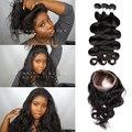 Ivy Querida Recomendar Pré Arrancadas 360 Rendas Frontal Com 3 pcs onda do corpo peruano hot beauty hair 360 laço frontal com feixes