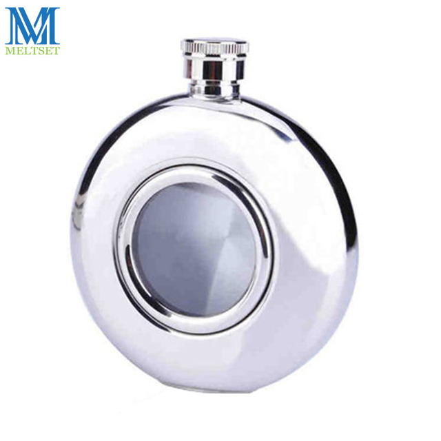 Outdoor Portable Hip Flask 5OZ For Men Stainless Steel Vodka Hp Flask Creative Flagon Round