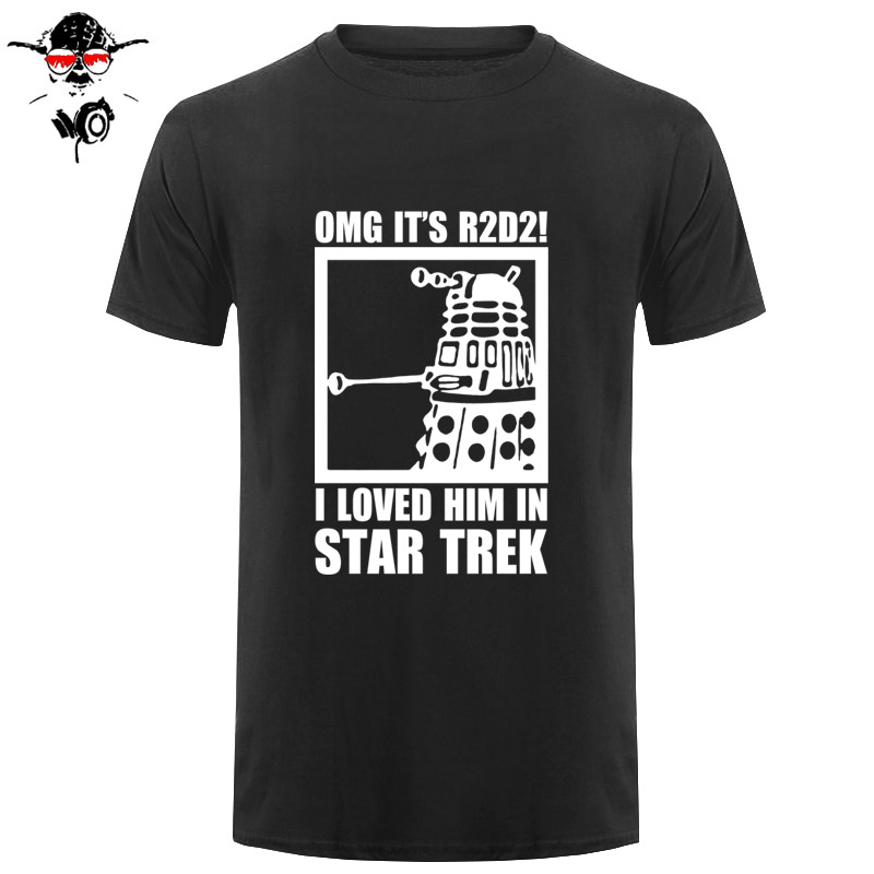 New Summer Funny Tee OMG It's R2D2 Dalek Star Wars Dr Who Trek Cotton T Shirt For Men