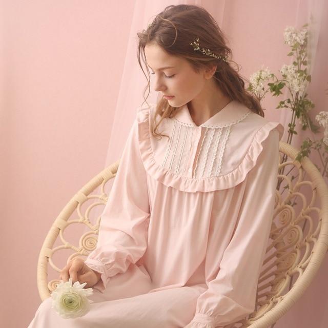 da695424d9 Free Shipping 2016 New Spring Princess Women s Long Pink and Beige Nightgown  Royal Sleepwear Vintage Pyjamas Lace Nightshirt