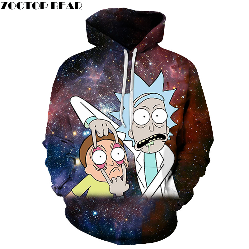 Galaxy Hoody Rick and Morty Printed Hoodies 3D Tracksuits Men Sweatshirt Cartoon Hoodie Fashion Pullover Drop Ship ZOOTOPBEAR