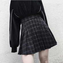 Ruibbit 2018 Autumn Winter Harajuku Gothic Black Gray Plaid Skirts Pleated Skirt
