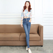 2016 spring high waist jeans female trousers feet close breasted Slim thin pencil pants women