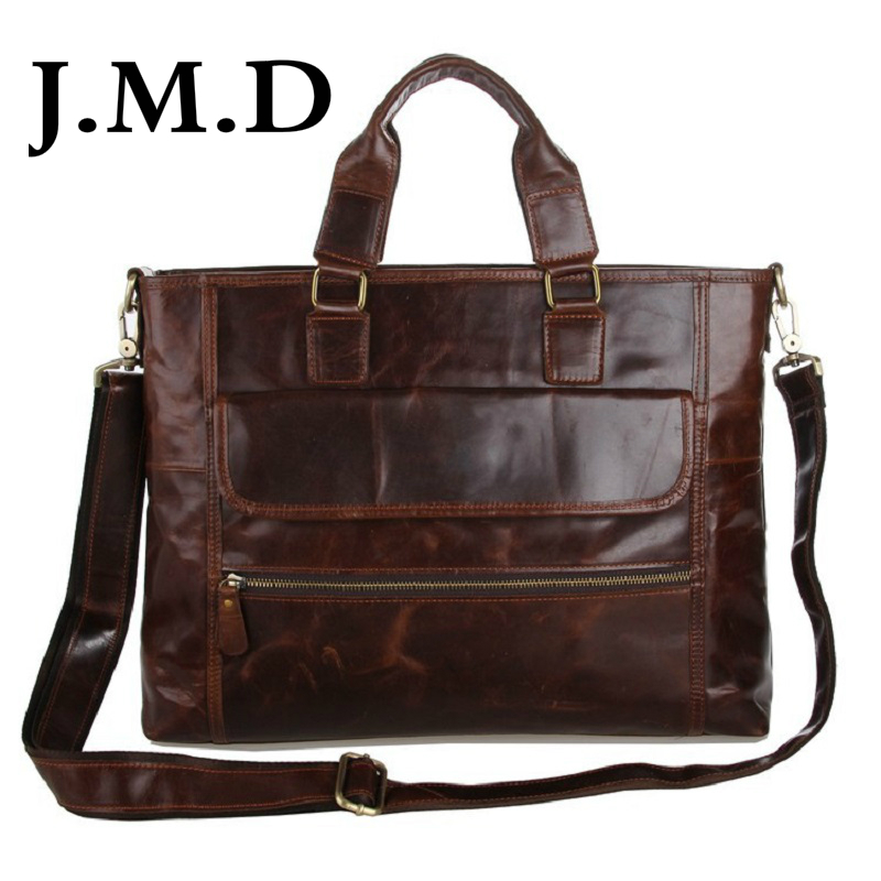 J.M.D Classical Genuine Leather Men's Coffee Shoulder Messenger Bag Cross Body Purse Briefcases Hot Sell 7212