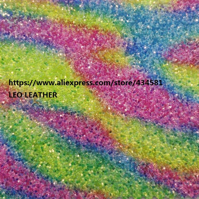 Rainbow Glitter Leather Chunky PU Fabric For DIY Accessories Making Bows Wallpaper Handbags And