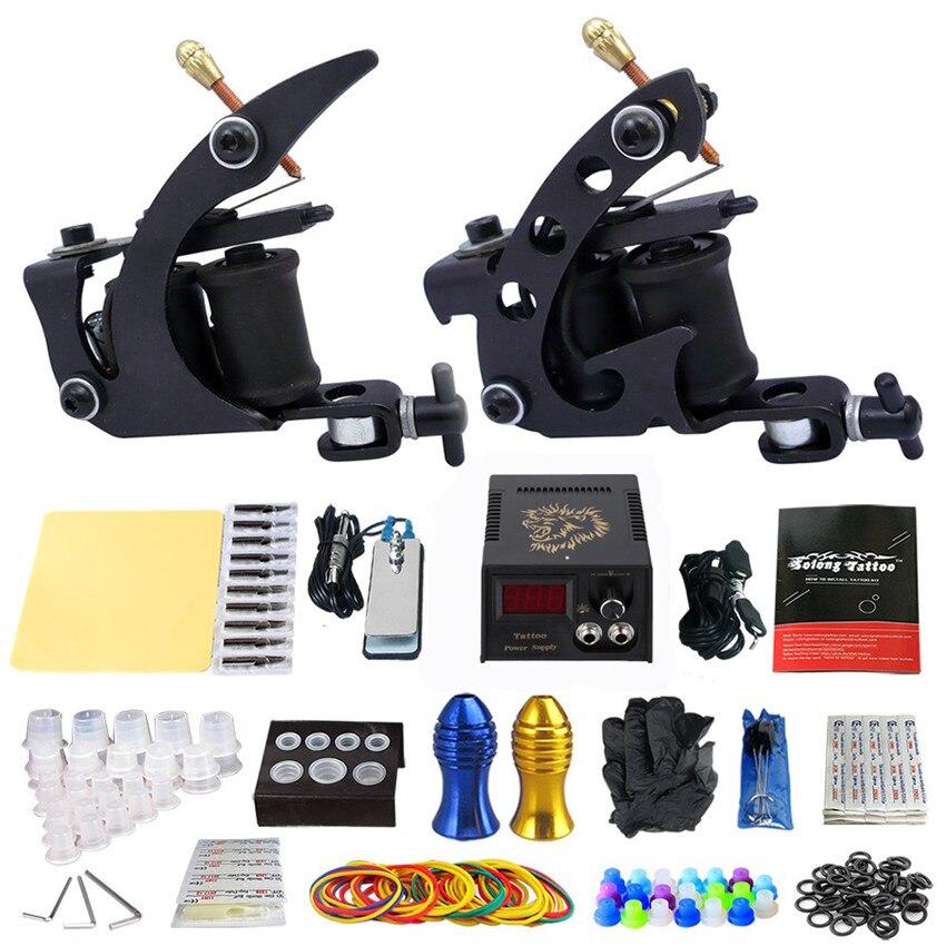 GUCCTA Kits de tatouage complets 2 mitrailleuses de tatouage à bobine Pro alimentation électrique 20 aiguilles pointe de poignée aiguille kit Taty tatouage