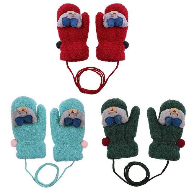 cb2a2dd111ad New Arrival Winter Baby Boys Girls Gloves Warm Rope Full Finger Bear ...