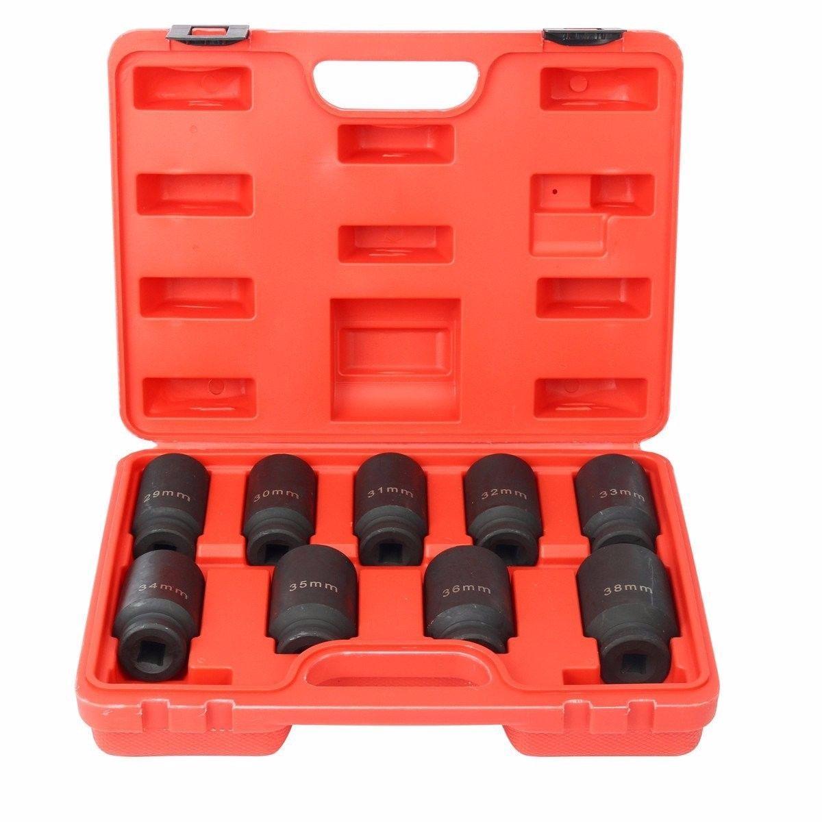 9pc 1/2 Drive Deep Impact Axle Hub Nut Socket Set 29-30-31-32-33-34-35-36-&38mm9pc 1/2 Drive Deep Impact Axle Hub Nut Socket Set 29-30-31-32-33-34-35-36-&38mm
