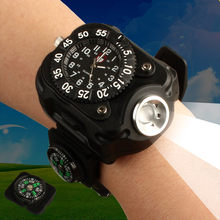 LanLan 3in1 Super Bright LED Watch Flashlight Torch lights Compass Outdoor Sports Rechargeable Mens Wrist Watch Waterproof(China)