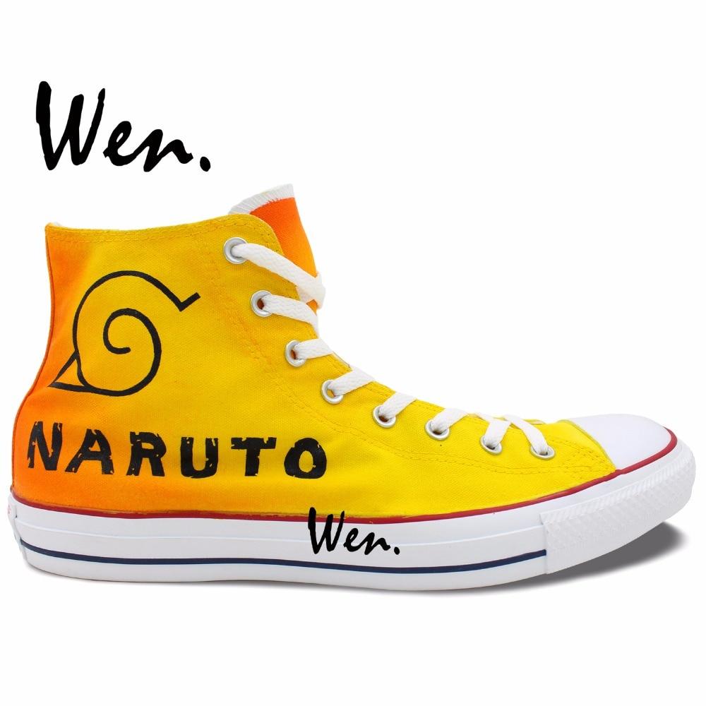 ФОТО Wen Hand Painted Orange Casual Shoes Anime Custom Design Naruto Men Women's High Top Canvas Shoes Christmas Gifts