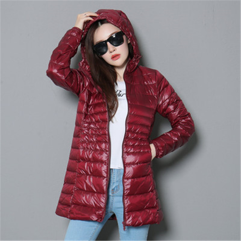 2018 Winter Women Duck   Downs   Jacket   Coat   Slim Parkas Ladies   Coat   Long Hooded Plus Size 6XL Ultra Light Outerwear D462