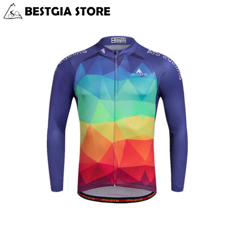 Long Sleeve Cycling Jersey Set Bib Pants Polyester Jerseys Spring Autumn Wear MTB Bike Bicycle clothing Suit Men Ropa Ciclismo cycling clothing rushed mtb mavic 2017 bike jerseys men for graffiti cycling polyester breathable bicycle new multicolor s 6xl