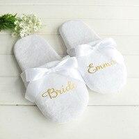 Персонализированные свадебные тапочки с кружевом невесты шлёпанцы для женщин подарок для невесты на заказ; обувь с принтом со девичник веч...