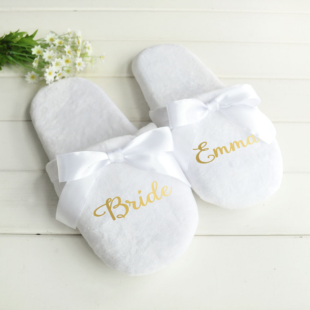 Chinelos de casamento personalizados com rendas chinelos de noiva presentes da dama de honra sapatos de impressão personalizada festa de solteira favores