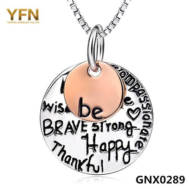 GNX0289 Ser Lo Que Quieres Ser Dos Tonos Collar Genuino Plata de Ley 925 Colgante de Joyería de Moda Collar Para Las Mujeres