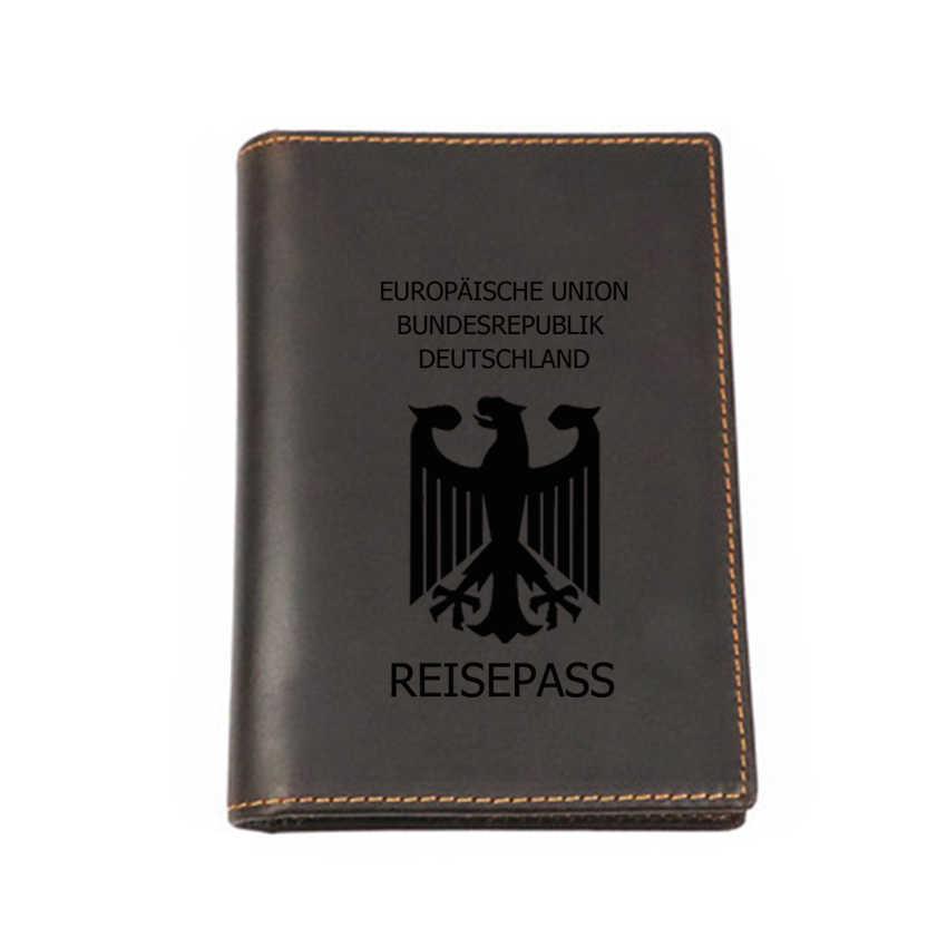 7dbac6238 Alemania pasaporte Multi funcional cubierta de cuero personalizado  pasaporte Cartera de viaje de cuero genuino tarjeta