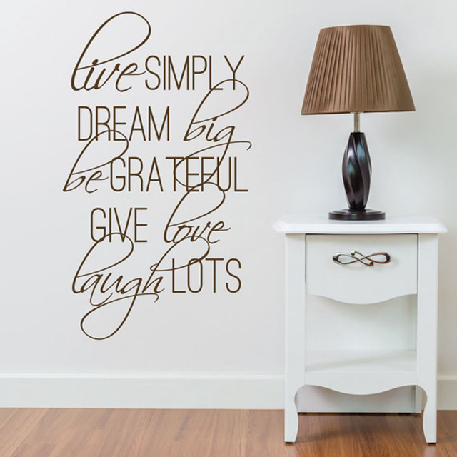 Aliexpress.com : Buy Live Simply Quotes Vinyl Sayings Wall Stickers ...
