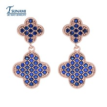 Famous brand four leaf flower female zircon earrings New fashion elegant four colors of the zircon earrings girl's gift ER-099