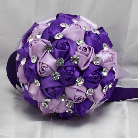 Purple Rhinestone Mariage Artificial Bridesmaid Wedding Bouquets Ramo Novia Bridal Flower Accessoires
