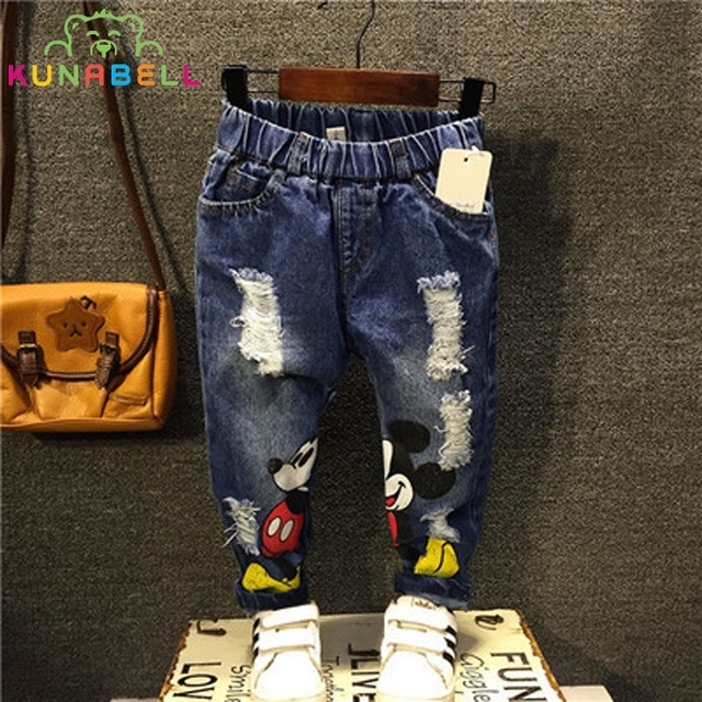 Kids Trousers New 2017 Boys Girls Jeans Children Cartoon Broken Hole Jeans Pants Fashion Baby Children Pants High Quality B013