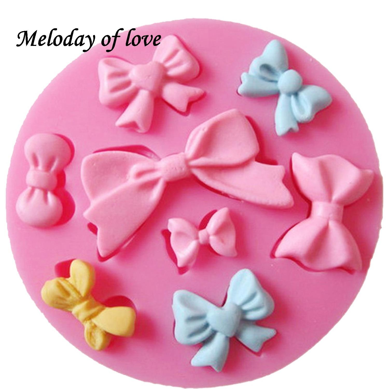 Many Mini Bow Chocolate Wedding Cake Decorating Tools DIY Baking Fondant Silicone Mold High Quality T0218(China)