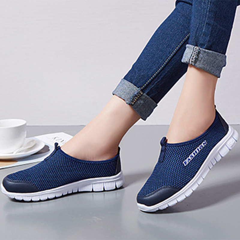 Summer Women Sneakers Mesh Breathable Slip On Flat Loafers Light Soft Bottom Comfort Walking Shoes Unisex Casual Shoes Plus Size(China)