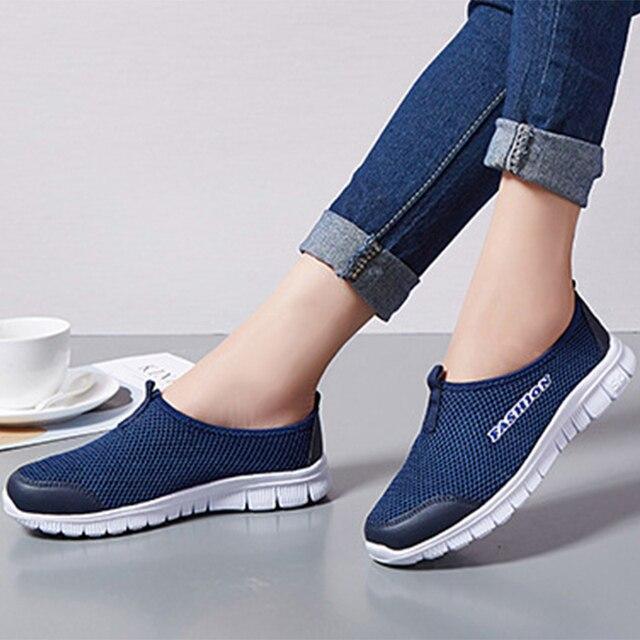 Yaz Kadın Sneakers Örgü Nefes Kayma Düz Loafer'lar Hafif Yumuşak Alt Konfor yürüyüş ayakkabısı Unisex rahat ayakkabılar Artı Boyutu
