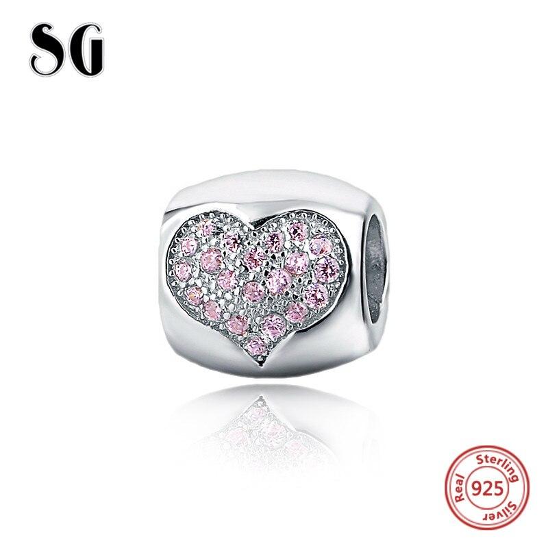 Fit encantos de prata pandora originais 925 diy artesanato beads com rosa cor do amor do coração CZ pedra Jóias fazendo acessório mulheres presente
