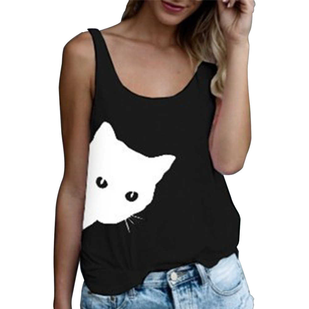 夏トップ女性ノースリーブベスト猫 Tシャツカジュアルルーズレディースプリントベストブラックホワイトグレータンクトップカジュアルクルーネックブラウス